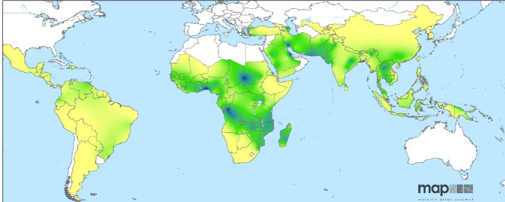 Predicted global prevalence of G6PD deficiency in males. Source: Howes et al 2012