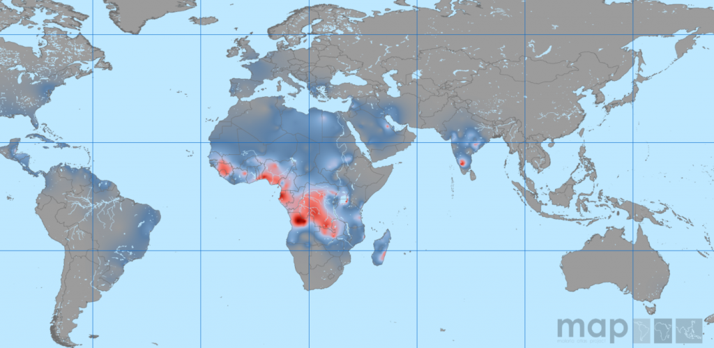 Predicted Global Sickle Cell Frequency. Source: Piel et al 2013