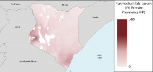 Pf Parasite Prevalence map of Kenya from the 2016 World Malaria Report