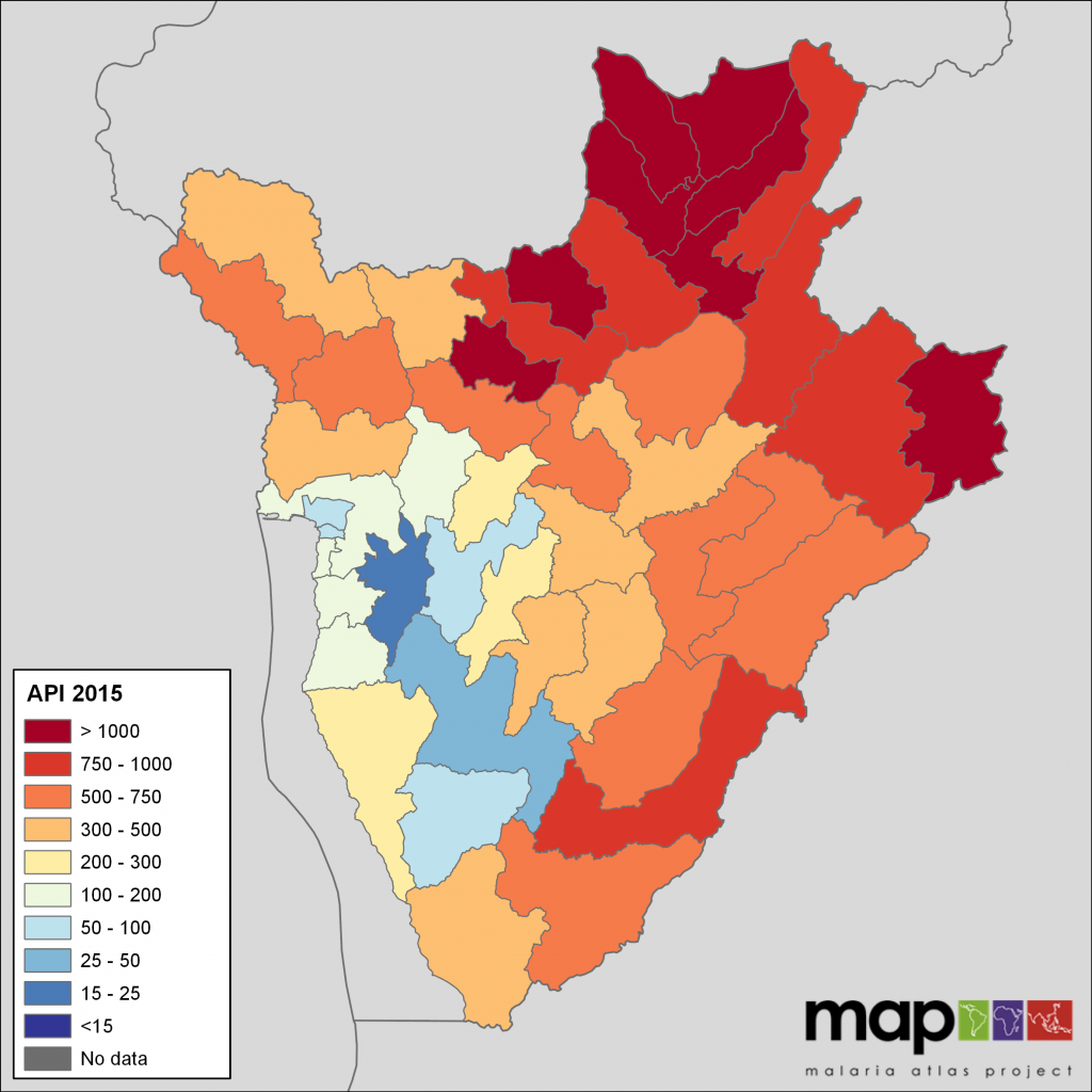 Burundi Health District API, 2015, extracted from routine surveillance data reports.