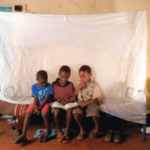 Photo of children under an insecticide-treated bed net, by Georgina Goodwin, provided to the Malaria Atlas Project by Roll Back Malaria